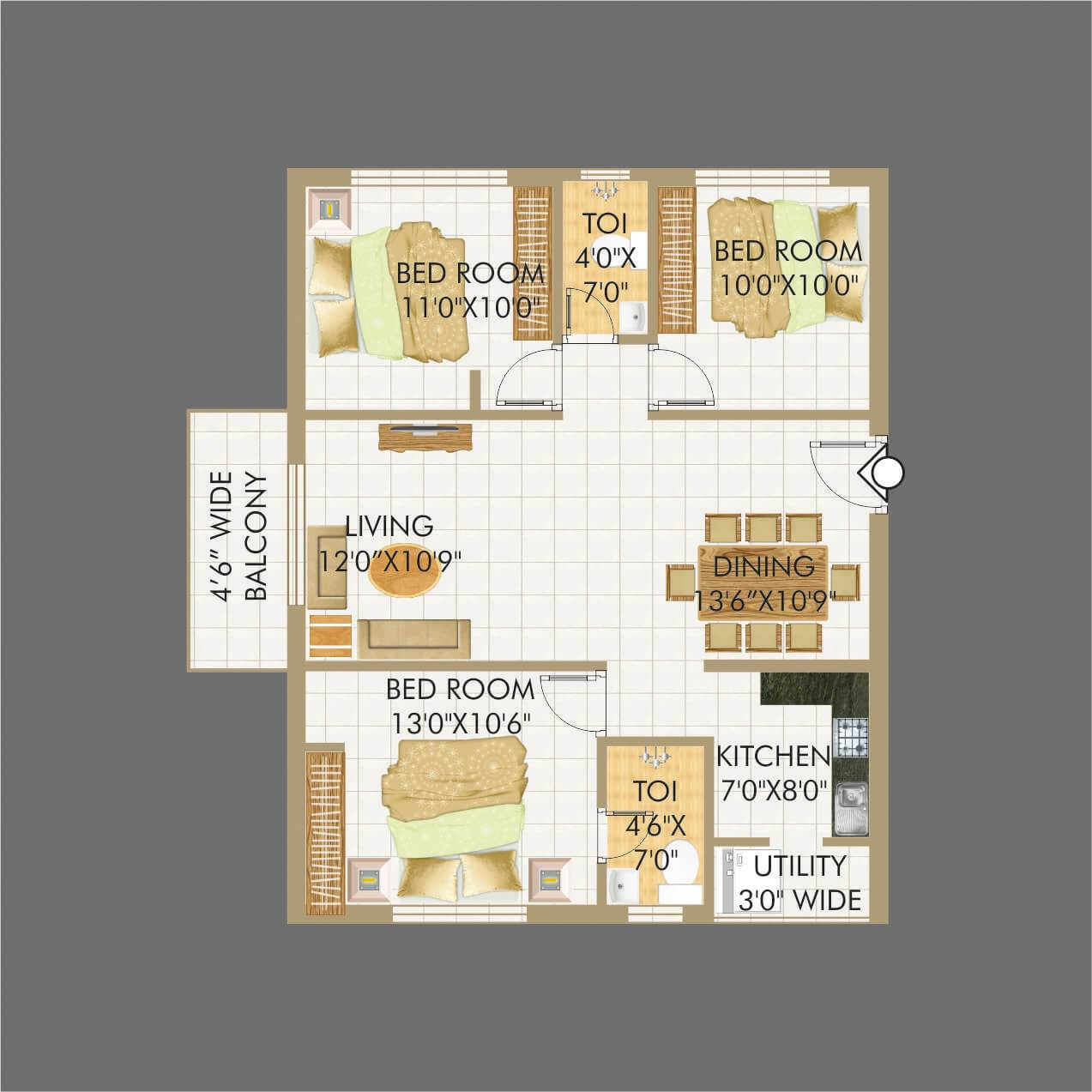 Lakecity floorplan 1251sqft east facing