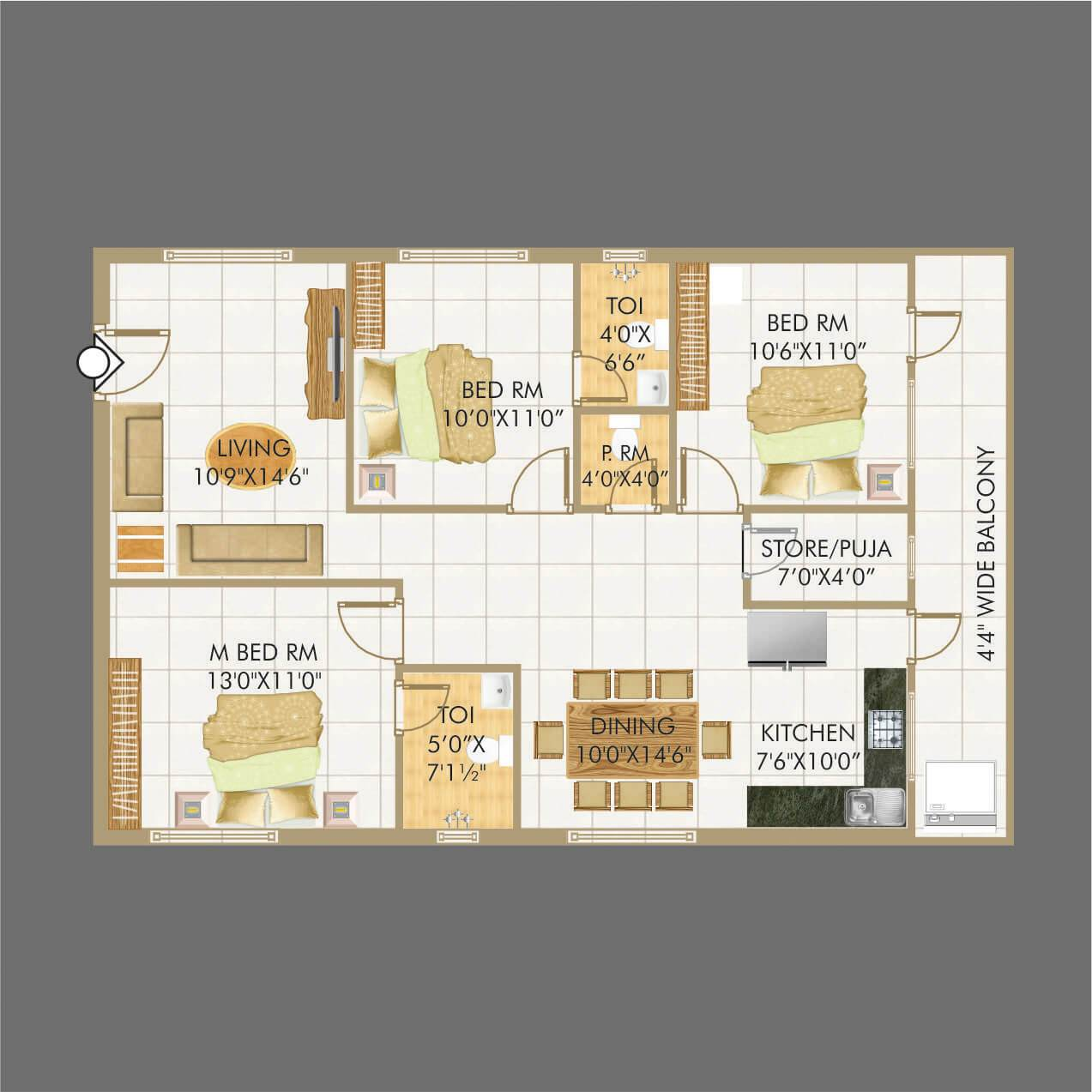 Lakecity floorplan 1512sqft west facing