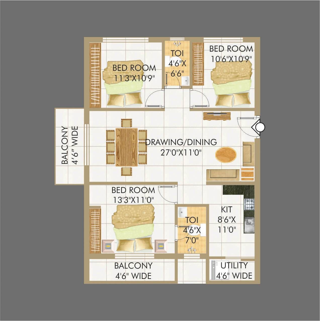 Lakecity floorplan 1530sqft east facing