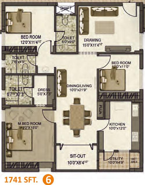 Lakshmi Nivasam floorplan 1741sqft south facing