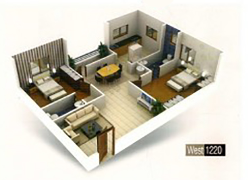 Laxmi towers floorplan 1220sqft west facing