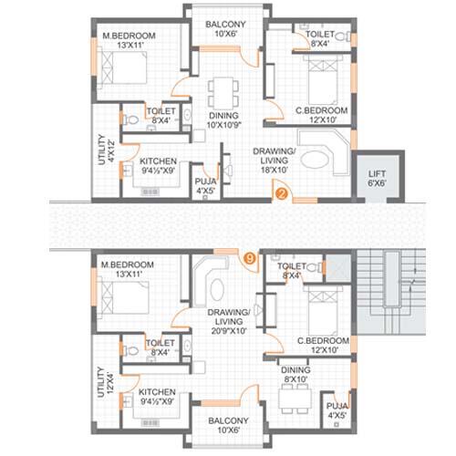 Lucky Heights floorplan 1250sqft east facing