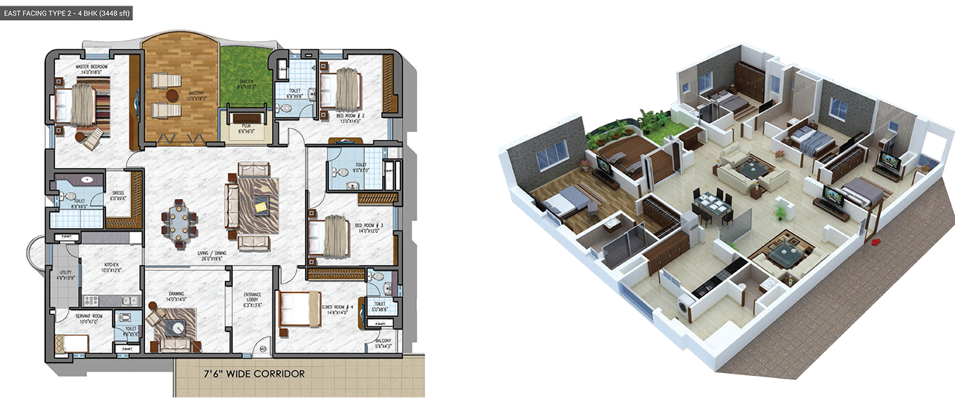 NCC Urban Gardenia floorplan 3448sqft east facing