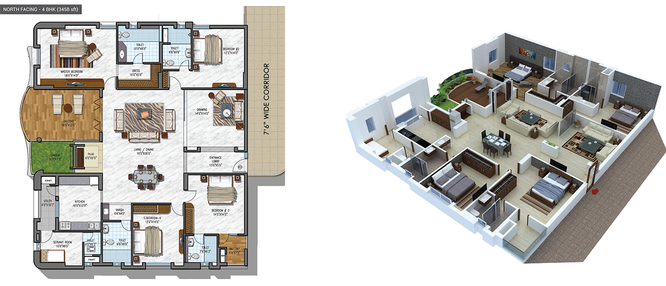 NCC Urban Gardenia floorplan 3458sqft north facing