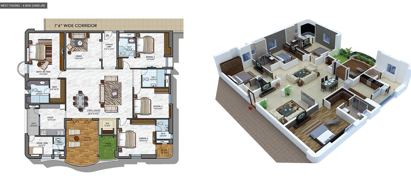 NCC Urban Gardenia floorplan 3480sqft west facing