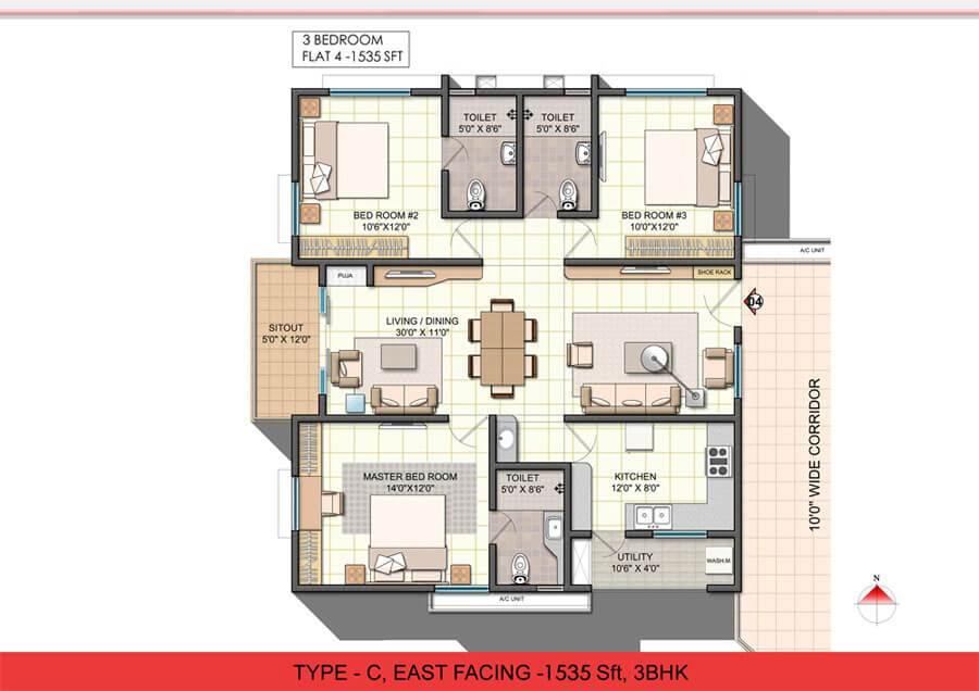 NCC Urban One floorplan 1535sqft east facing