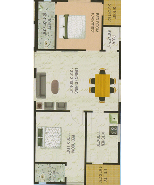 Nalluri Empire floorplan 1020sqft east facing