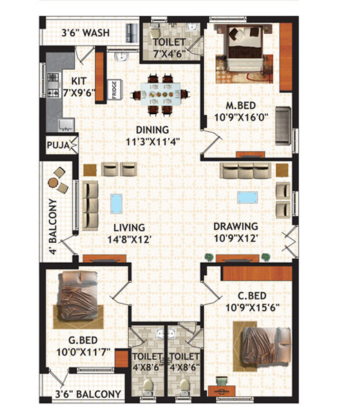 Oak Gardens floorplan 1944sqft west facing