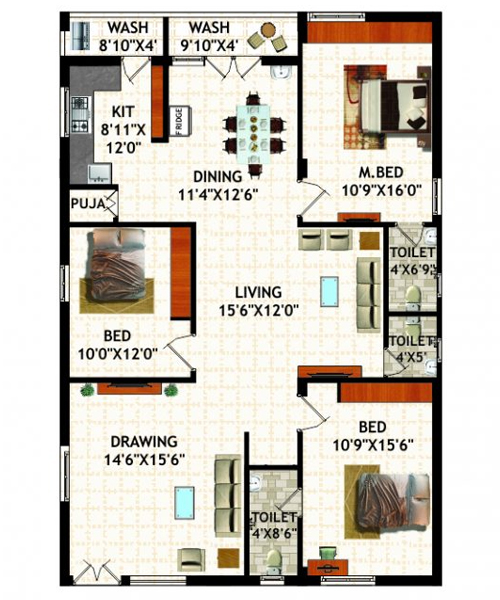 Oak Gardens floorplan 1944sqft north east facing