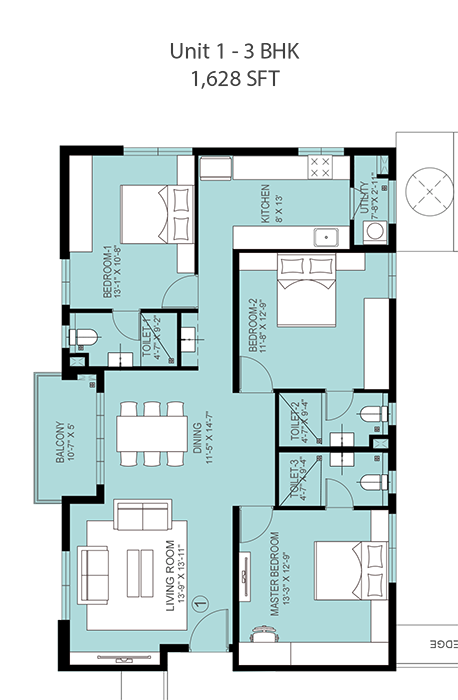 PBEL City floorplan 1628sqft south facing