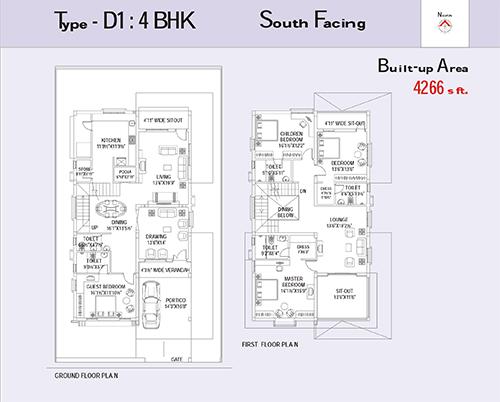 PRAJAY WATER FRONT PHASE 2 floorplan 4266sqft south facing