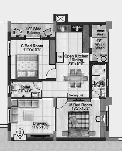 Palm Cove floorplan 1054sqft west facing