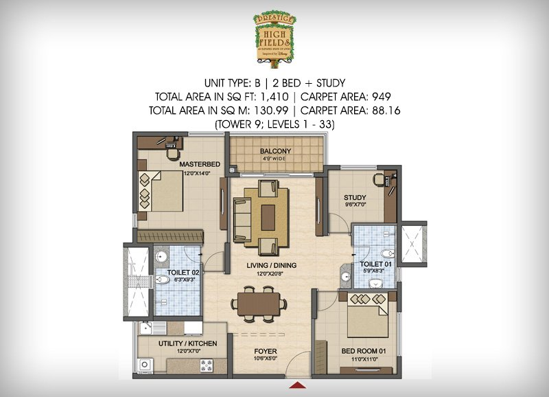 Prestige High Fields floorplan 1410sqft south facing