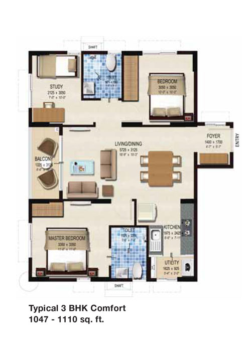 Provident Kenworth floorplan 990sqft east facing