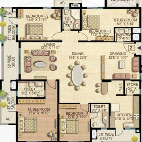 Quiescent Heights floorplan 2985sqft east facing