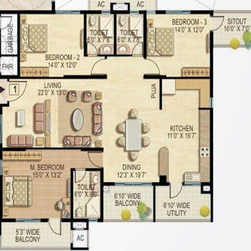 Quiescent Heights floorplan 2295sqft west facing