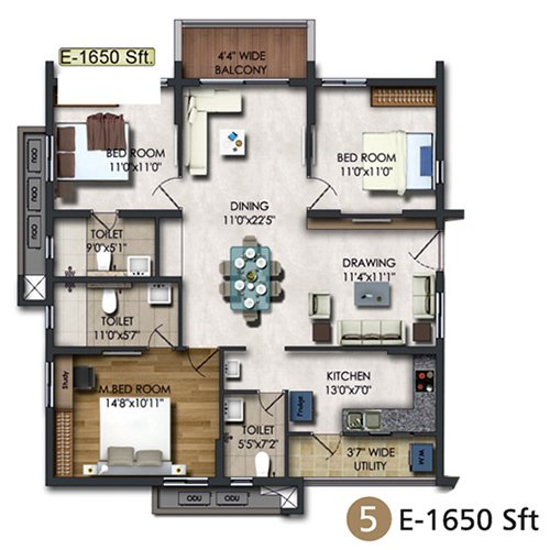 RAJAPUSHPA REGALIA floorplan 1610sqft east facing