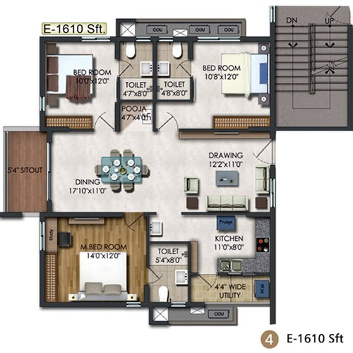 RAJAPUSHPA REGALIA floorplan 1945sqft east facing