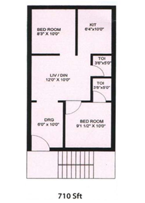 Rajapulova Sai brundavanam floorplan 710sqft east facing