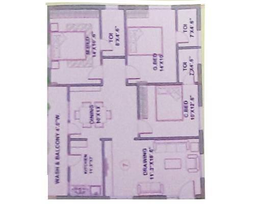 Rajeswari Residency floorplan 1391sqft east facing