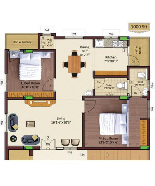 Ramakrishna Enclave floorplan 1000sqft south facing