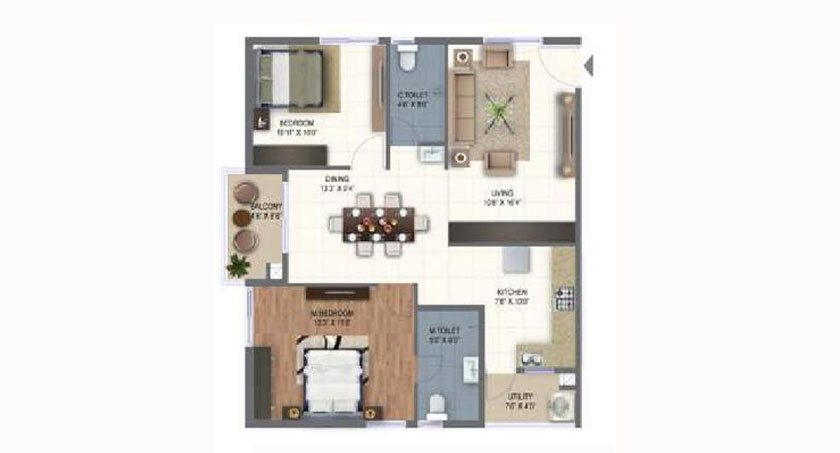 Ramky One Marvel floorplan 1125sqft east facing