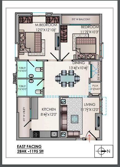 Riddhis Valentino floorplan 1195sqft east facing
