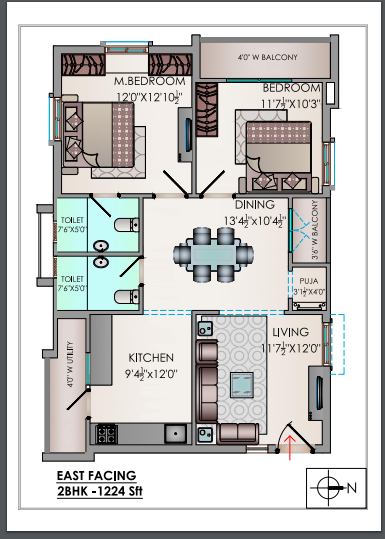 Riddhis Valentino floorplan 1224sqft east facing