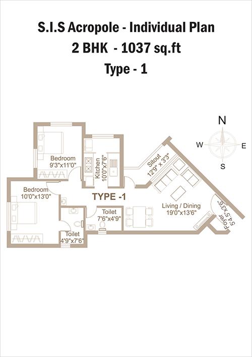 SIS Acropole floorplan 1037sqft east facing