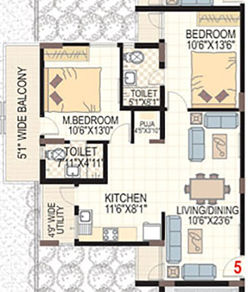 SMR VINAY HARMONY COUNTY floorplan 1350sqft north facing