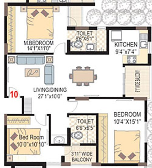 SMR VINAY HARMONY COUNTY floorplan 1545sqft east facing
