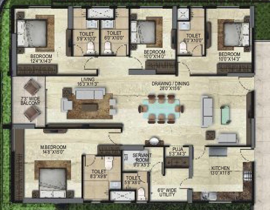 SMR Vinay Iconia Phase 1 floorplan 2925sqft east facing