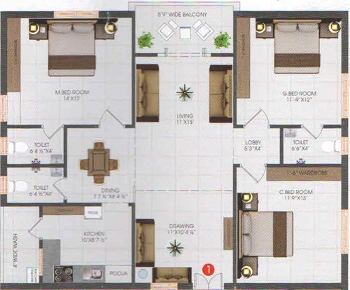 SNR meadows floorplan 1540sqft south facing