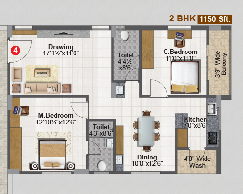 SREE NILAYAM floorplan 1150sqft east facing