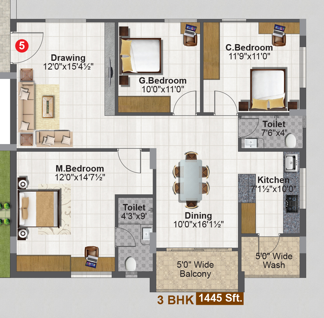 SREE NILAYAM floorplan 1445sqft east facing