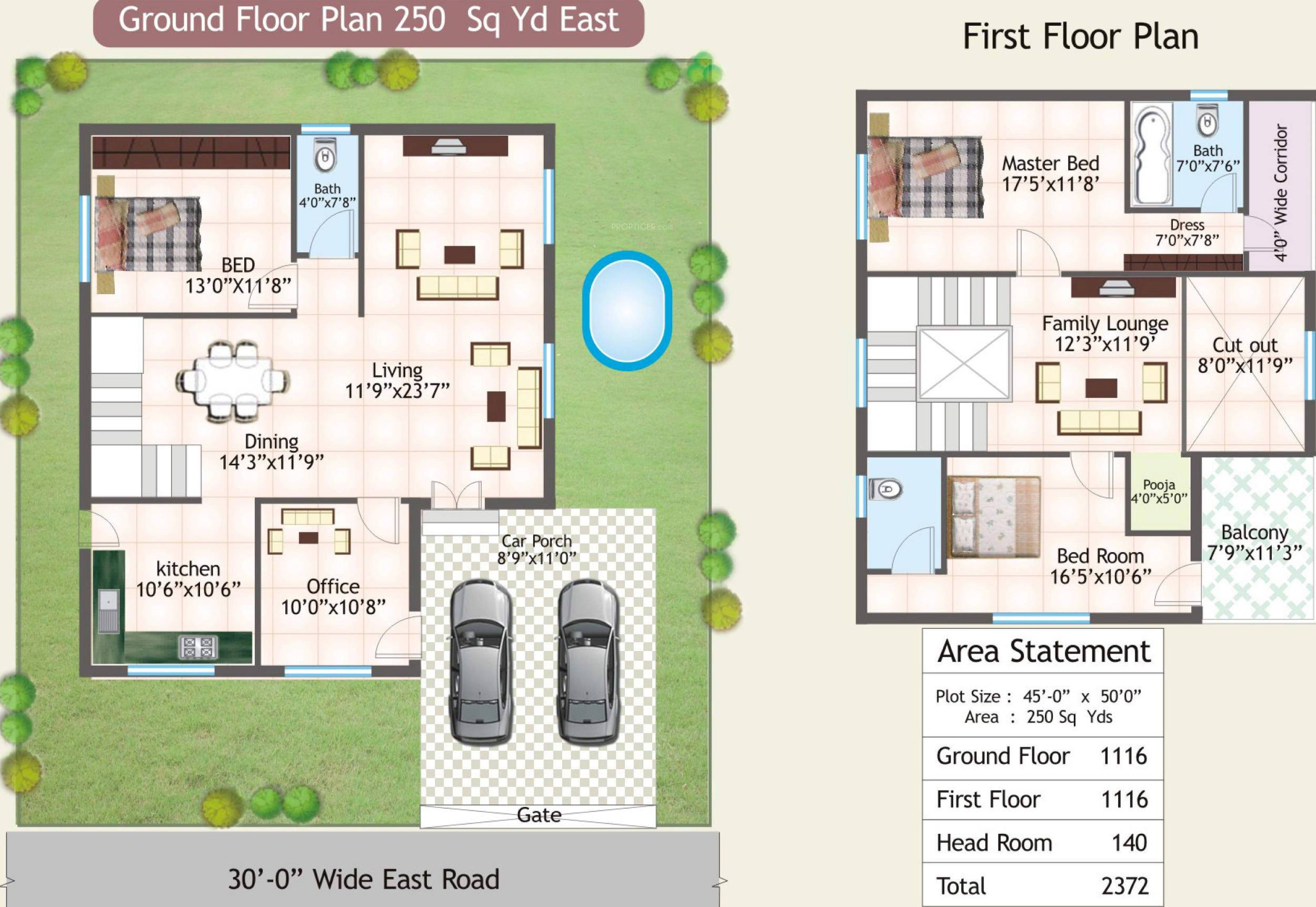 SRK Green Park floorplan 2250sqft east facing