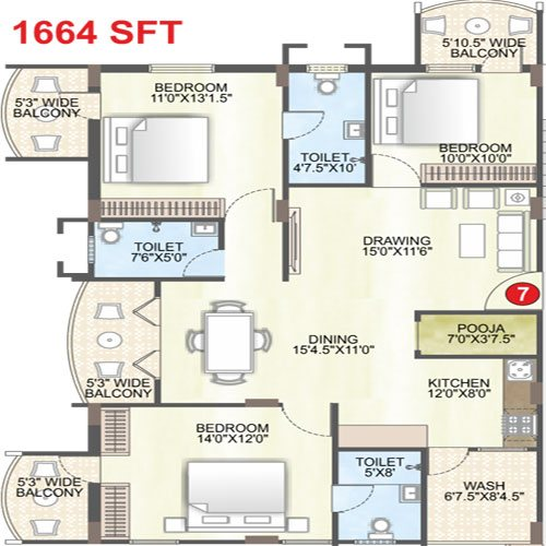 Saffron sanathan floorplan 1664sqft east facing