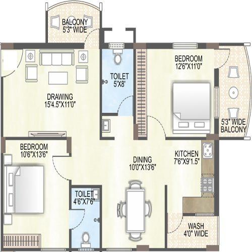 Saffron sanathan floorplan 1259sqft east facing