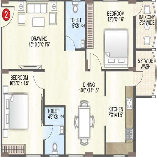 Saffron sanathan floorplan 1265sqft south facing