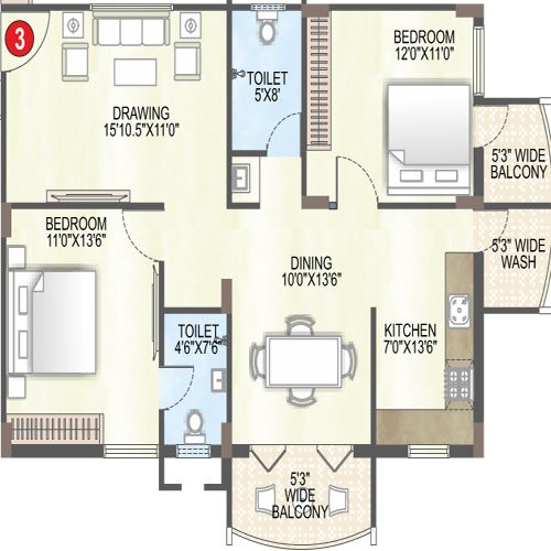 Saffron sanathan floorplan 1275sqft north facing