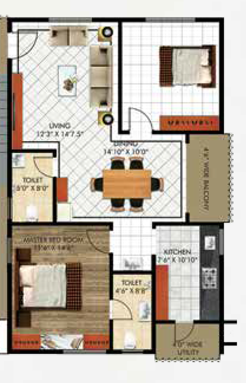 Sahasraa floorplan 1218sqft west facing