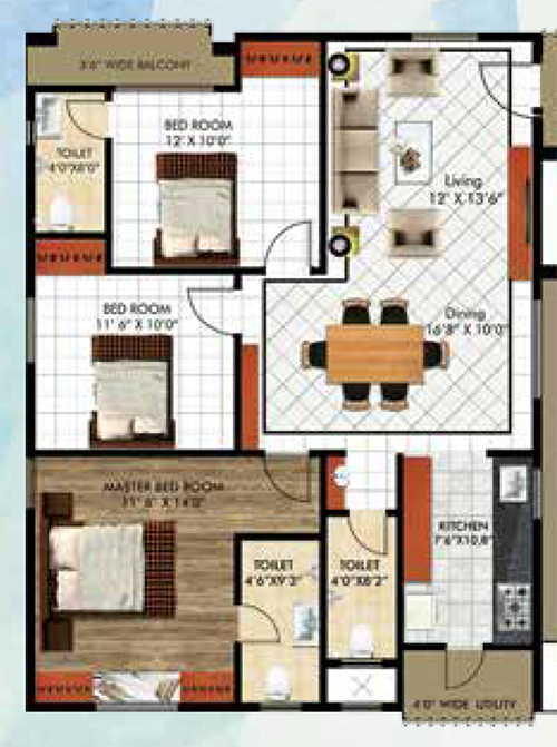 Sahasraa floorplan 1513sqft east facing