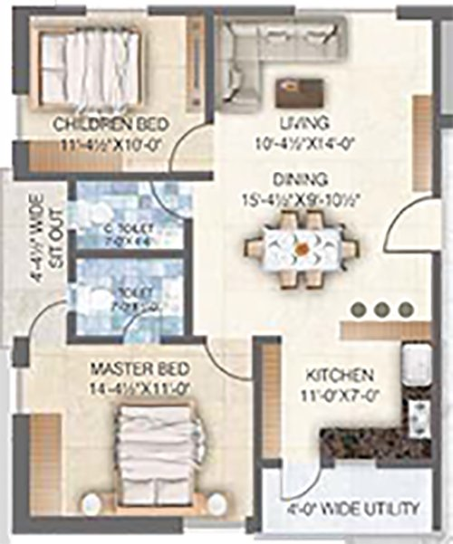 Sai Spoorthy Avenue floorplan 1125sqft east facing