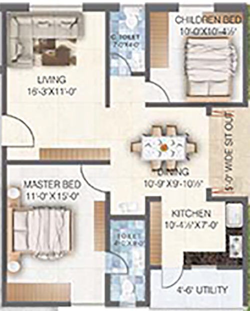 Sai Spoorthy Avenue floorplan 1125sqft west facing