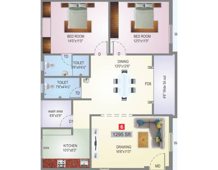 Sai Subashini Towers floorplan 1295sqft west facing