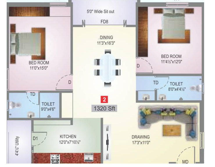 Sai Subashini Towers floorplan 1320sqft west facing