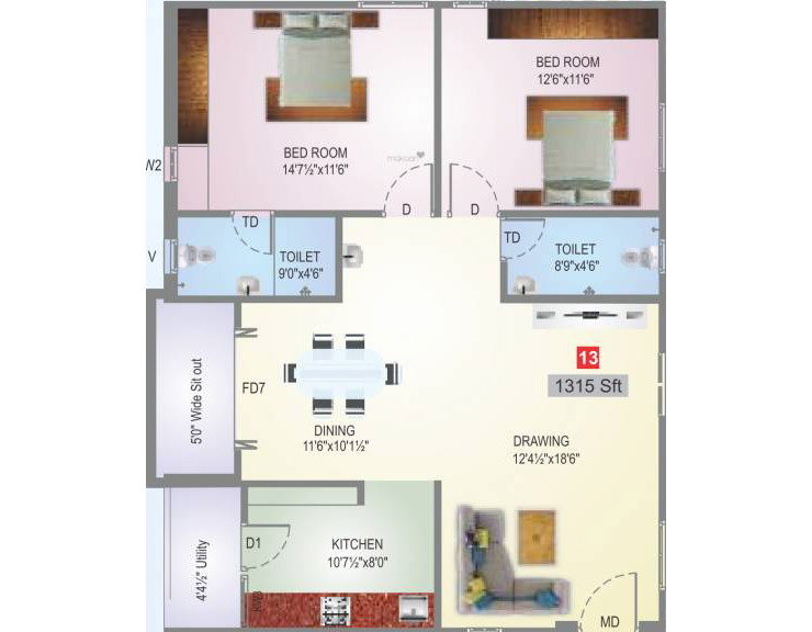 Sai Subashini Towers floorplan 1350sqft west facing