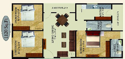 Sampath Sai Enclave floorplan 1120sqft west facing