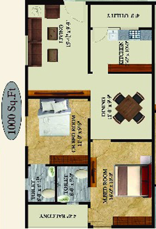 Sampath Sai Enclave floorplan 1000sqft east facing