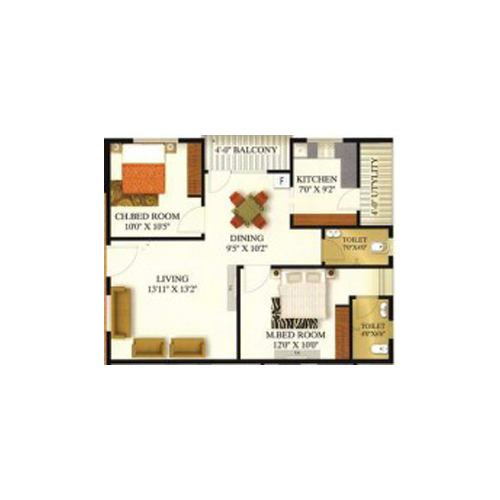 Sansarella heights floorplan 1000sqft north facing